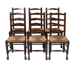 Attirant Set Of Six Oak Ladder Back Dining Chairs With Rush Seats   English Classics