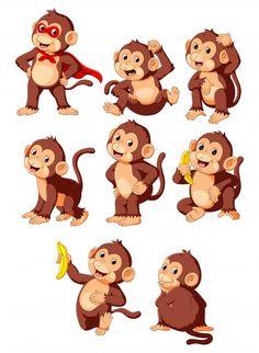 Monkey Drawing Easy, Cartoon Monkey Drawing, Monkey Art, Pet Monkey, Cute Cartoon Animals, Baby Cartoon, Cute Baby Monkey, Baby Animal Drawings, Monkey And Banana