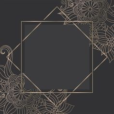 Luxury gold template with zentangle hand drawn flowers Free Vector Framed Wallpaper, Flower Background Wallpaper, Flower Backgrounds, Background Patterns, Background Designs, Zentangle, Free Frames, Borders And Frames, Wild One Birthday Invitations