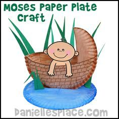 Baby Moses in a Paper Plate Basket Craft for Sunday school made by a