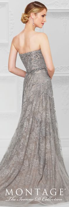 Formal Evening Gowns by Mon Cheri - Spring 2017 - Style No. 117D64 - gray strapless beaded and embroidered tulle evening dress