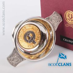 Crawford Clan Crest Quaich. Free worldwide shipping available.