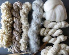 Second Edition - Natural Yarn pack for knitting, crochet, weaving or felting. Wool, mohair, merino.