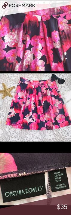 Cynthia Rowley Pink & Black Pleated Skirt Beautiful Cynthia Rowley Pink & Black Floral Skater Skirt With Zippered Back. Size Medium. Excellent Condition from a Smoke free Pet Free Home Cynthia Rowley Skirts Circle & Skater