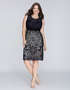 Mesh and lace create one seriously put-together dress. Scalloped hem. Vented back. Exposed back zipper. Lined. lanebryant.com
