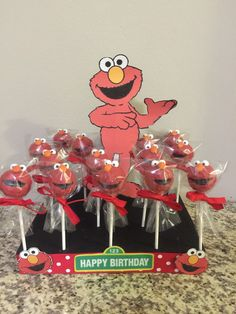 PAY USING PAYPAL AND YOU WILL GET A FREE SHOP ITEM WHEN YOUR ORDER SHIPS OUT  ELMO CAKE POPS You will get 12 cake pops wrapped And Baby 1st Birthday, 1st Boy Birthday, 2nd Birthday Parties, Sesame Street Cake, Sesame Street Birthday, Elmo Cake, Fondant Cupcake Toppers, Elmo Party, Baby Shower Cakes