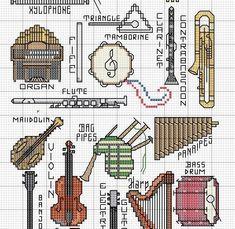 instruments -- flute clarinet, trombone, guitar, bagpipe, organ, drum