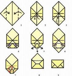 När du sedan lämnar valkuvertet till valförrättarna. Vik sedan över den tredje kanten, s att det ser ut som ett öppnat kuvert. Vikbrev med f...
