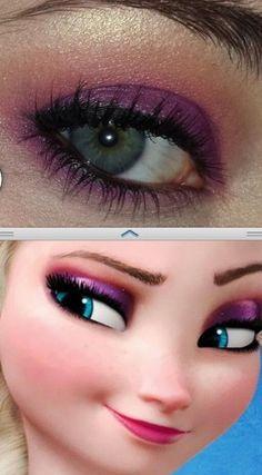 Elsa from Frozen eye make up!