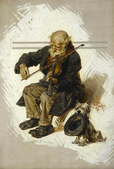 J.C. LEYENDECKERThe Violinist And His AssistantOil on Canvas30″ x 21″