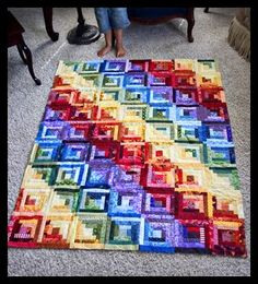 great rainbow log cabin quilt!