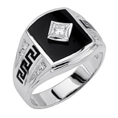 b9d0edf71 .925 Sterling Silver CZ and Onyx Greek Key Mens Ring GoldenMine. $61.00.  Special