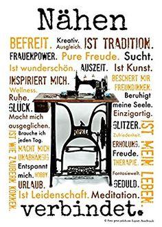 Nähen verbindet. Druck Poster Nähmaschine AnneSvea Sewing Handmade Deko