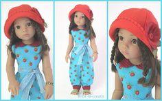 Puppenkleidung - 3 teilg. Set CLARA - türkis - Sommer - ein Designerstück von…