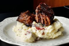 Slow Baked Boneless Beef Short Ribs, cowboyw bbq sauce, bacon bbq sauce, Sunday dinner, ribs, perfect mashed potatoes epicurious