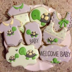 turtle baby shower cookies                                                                                                                                                                                 More