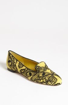 Yellow and black lace flats