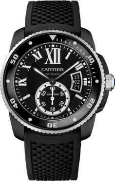 Calibre de Cartier Carbon Diver watch 42 mm, steel, ADLC, rubber