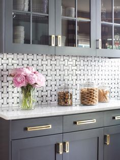 Browse before-and-after pictures on HGTV.com get expert tips from a kitchen remodel featuring gray cabinetry, brass hardware and more.