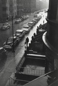 Ruth Orkin  Man in Rain…from My Window on West 88th Street, 1952  Thanks tomondonoir