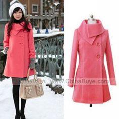 Women's Elegant Turn-down Collar Solid Color Long Coat Outwear - Wool Coat  Wear - Women Clothing