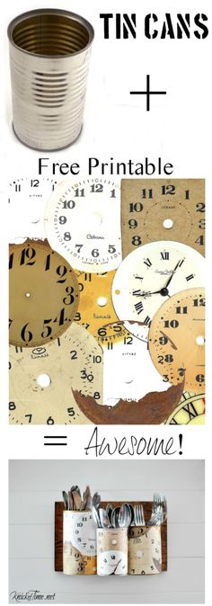Antique Clock Face Printable and Tin Can Craft via KnickofTime.net