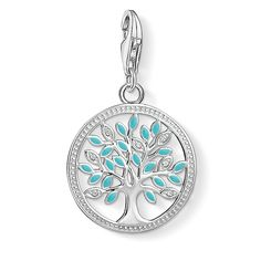 From the Thomas Sabo Charm Club collection, this symbolic charm features a cut-out tree of life motif, set with white cubic zirconia and turquoise enamel mounted in sterling silver; a popular talisman for fertility and life, making the perfect meaningful Silver Bracelets, Silver Earrings, Silver Ring, Silver Enamel, Charm Bracelets, John Greed Jewellery, Argent Sterling, Sterling Silver, Pandora