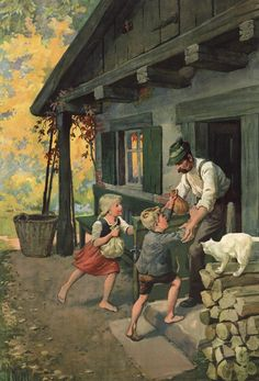 Otto Kubel : Hansel and Gretel Brothers Grimm Fairy Tales, Hansel Y Gretel, Classic Fairy Tales, Fable, Fairytale Art, Fantasy Paintings, Children's Book Illustration, Illustrations Posters, Artist