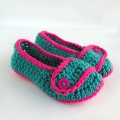 Teal With Hot Pink Toddler Crochet Slippers by babybuttercup, $20.00 ...or trying to convince a friend who knits to make them...