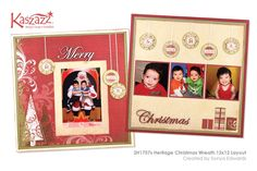 This project sheet will show you how to create a double page layout using wreath stamps to create decorations, SB Paper to create gifts and two Chipboard Words for the title Christmas Wreaths, Christmas Crafts, Merry Christmas, Xmas, Scrapbooking Ideas, Scrapbook Pages, Scrapbook Layouts, Christmas Scrapbook, Page Layout