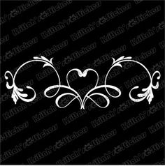 "Heart Banner Vinyl Decal 9x3"" Vine Flower Pinstripe Design Car Wall Sticker K319 