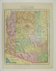Arizona Map New Mexico 1900 US State Travel Map Gift Idea for the Home Southwestern Decor Historic Map Wedding Prop Map 1st Anniversary Gift by OldMapsandPrints on Etsy
