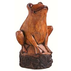 Wood Carved Frog Statuary. As though it was hand carved out of a piece of wood, this polystone resin frog statue has a highly detailed and natural appearance. Suitable for indoor or outdoor use. #frog #statuary #gardendecor