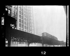 """View from street level of the """"L"""" elevated railway in Chicago. Stanley Kubrick photographer Raw Collection by Lineature"""