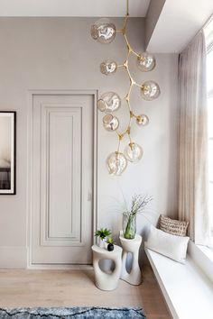Monochromatic Color Scheme Home Inspiration NYC Loft Farmhouse Light Fixtures, Farmhouse Lighting, Rustic Lighting, Pendant Lighting, Brass Chandelier, Bubble Chandelier, Pendant Lamp, Modern Bedroom Lighting, Modern Lighting