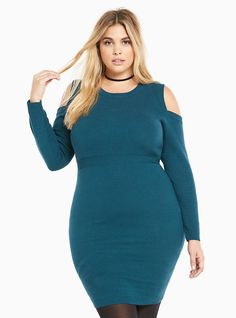 Ribbed Knit Cold Shoulder Sweater Dress, DEEP SEA TEAL SCOTDIC