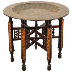 Moorish Brass Tray Table on Inlaid Folding Stand   From a unique collection of antique and modern tray tables at https://www.1stdibs.com/furniture/tables/tray-tables/