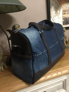 Sac Boston recyclage jeans cousu par Brigitte - Patron sac weekend Sacôtin