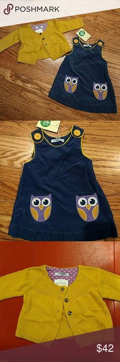 New Mini Baby Boden  0/3m dress sweater set blue NWT Precious corduroy dress with gold buttons and purple owl pockets, matching yellow/gold sweater set, great baby gift, photos, holiday, dress up, Nordstrom Mini Boden Dresses Casual