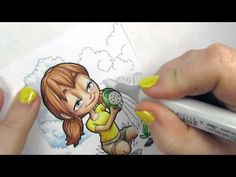 How to Color Clouds and Sky Part 1: Gardening Mae by Kristy of Some Odd Girl