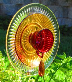 Garden Art Vintage Glass Flower Gift Free Shipping by FleurDeGlass, $45.00
