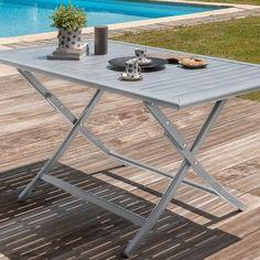 salon de jardin aluminium et bois composite camberra naturel - 6 à ... - Chaise De Jardin Pliante Aluminium