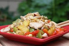 Cashew Chicken with Bell Peppers and Pineapple- sibodietrecipes.com