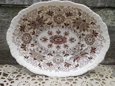 "Brown Transferware - Masons's Bow Bells  -  Oval Bowl - 8 3/4"" x 6 3/4"" - English Transferware -  Aesthetic  -  Toile"