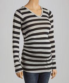Look at this #zulilyfind! Black & Gray Stripe Maternity V-Neck Top #zulilyfinds