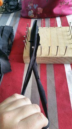 DIY tawashis bandes de tissus sur métier à tisser