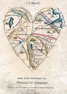 """A Map of the Open Country of Woman's Heart, by A Lady"", published by D.W. Kellog & Co., Hartford, CT, c. 1833-1842. From the collection of the American Antiquarian Society, gift of Charles H. Taylor  More info: http://twonerdyhistorygirls.blogspot.com/2011/11/map-of-open-country-of-womans-heart-c.html"
