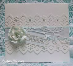 CAS white and porcelain blue card with hand made flower