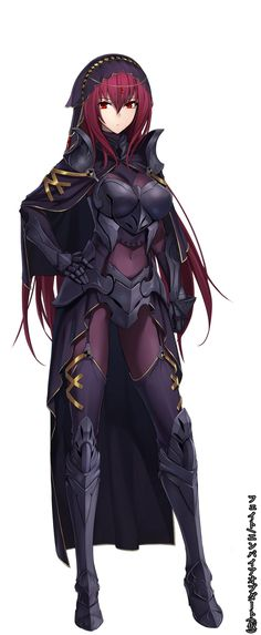 1girl absurdres alternate_costume armor bodysuit breastplate cape covered_navel fate/grand_order fate_(series) full_body gauntlets greaves hand_on_hip highres long_hair looking_at_viewer purple_hair red_eyes scathach_(fate/grand_order) shijiu_(adamhutt) shoulder_armor simple_background solo thigh-highs thighhighs_over_bodysuit veil very_long_hair white_background