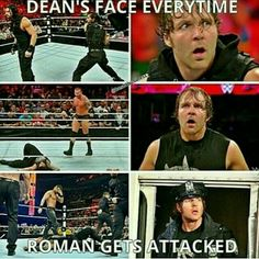 Dean Ambrose loves his Brother Roman Reigns. This face says oh I'm Gonna Kill That Dude
